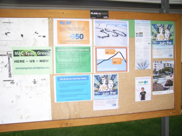 A display board for everyone to know what 350 is about